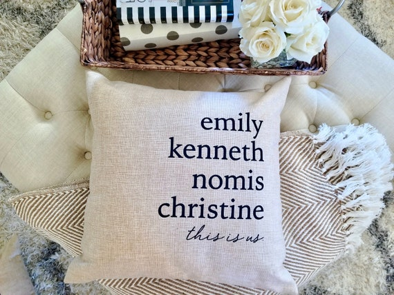 Farmhouse throw cover, this is us pillow, Customized throw pillow,  farmhouse name throw cover, farmhouse throw pillowcase, farmhouse throw,