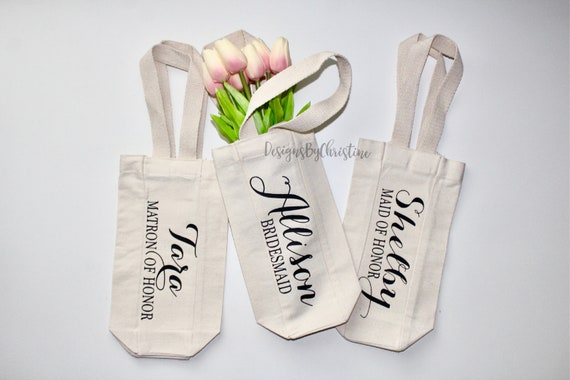 wine tote, wine bag, wedding gift, engagement gift,Proposal gift, Bridesmaid gift, Bridal shower gift, Bride gift, wedding party favor