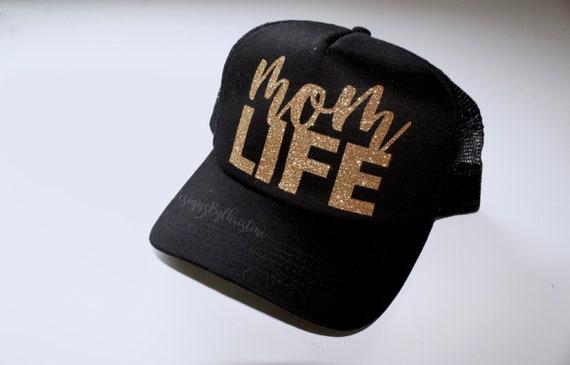 Mom life Trucker Hat. mom life hat. Mom hat. Mom baseball hat. Mom glitter hat. Gold glitter hat. mom trucker. mommy hat