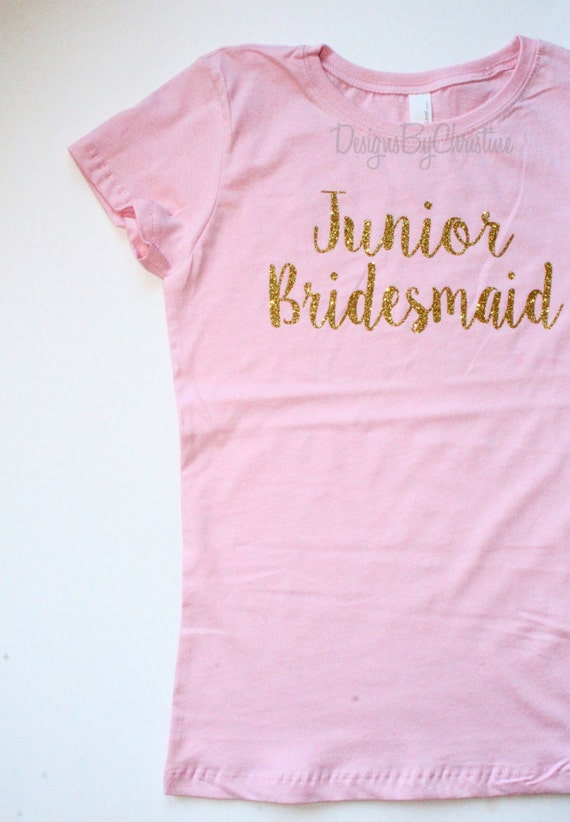 Junior Bridesmaid shirt. Glitter shirt. Junior Bridesmaid Girl Tee. Junior Bridesmaid. Jr Bridesmaid Bridal Party Shirt.