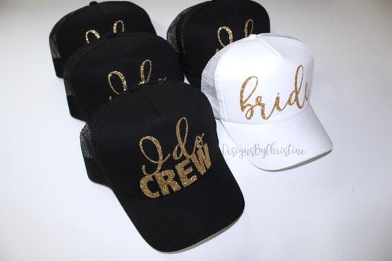 I do crew hats. Trucker Caps. Bride Trucker hat. Bachelorette hats. Bridesmaid glitter hats. Gold glitter hats. Bride hats