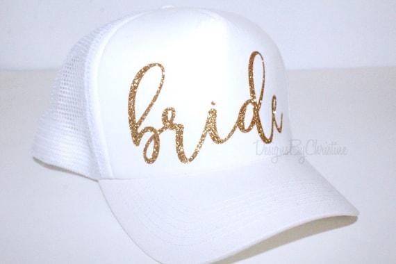 ef074b18d78 Bride White Trucker Hat. Bride Bachlorette hat. Bachelorette