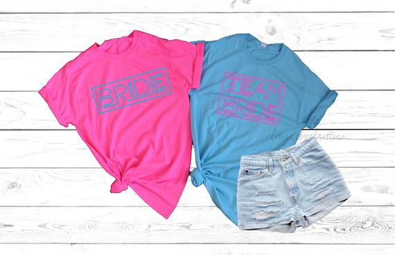 Neon Bachelorette Shirts, Neon team bride shirts, Neon Bride Shirt, Neon Bachelorette Party Shirt, Custom neon shirt