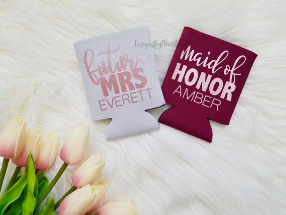 Customized Can Coolers. Maroon Can Coolers. Be my bridesmaid proposal koozie. Bridesmaid Gifts. Koozies. Beer cooler