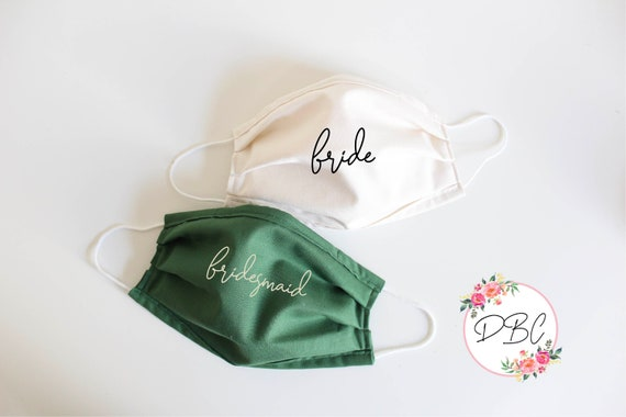 Bride and Bridesmaid hunter green mask, Mask Cover with nose wire & filter, Cotton Face Mask, Washable Face Mask, mask with filter