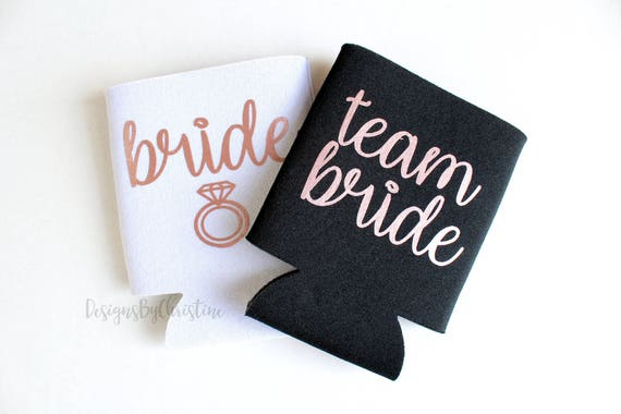 Team Bride Coolers. Bride Beer Cooler. Team Bride Can Coolers. Bridesmaid Gifts. Rose Gold Coolers. Koozies