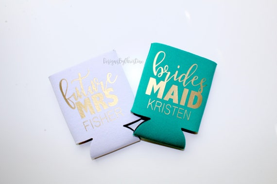 Customized Can Coolers.Emerald Green Can Coolers. Be my bridesmaid proposal doozie. Bridesmaid Gifts. Koozies. Beer cooler