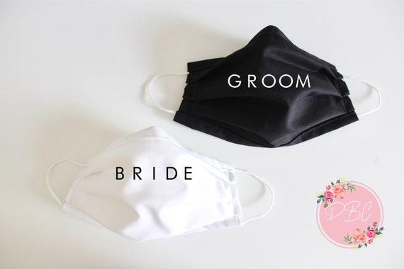 Bride and Groom Face Mask, Mask Cover with nose wire & filter, Cotton Face Mask, Washable Face Mask, mask with filter