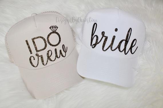 I DO Crew Hat. Trucker Caps. Bride Trucker hat. Bachelorette hats. Bridesmaid glitter hats. I do Crew Trucker hat. Bride bachelorette hat