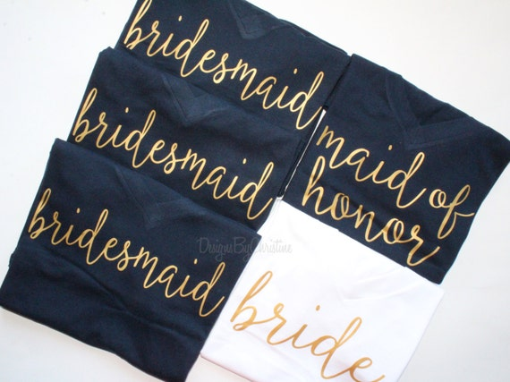 Navy Bridesmaid shirts    Bridal party shirts    Bridesmaid group Shirts. Bridesmaid proposal   navy bachelorette shirts