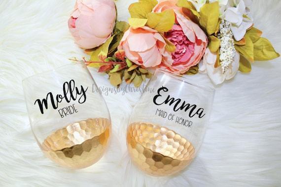 Custom wine glass, custom wine glasses. Personalized stemless wine glass, Bridesmaid gift, Bachelorette Party, Proposal gift