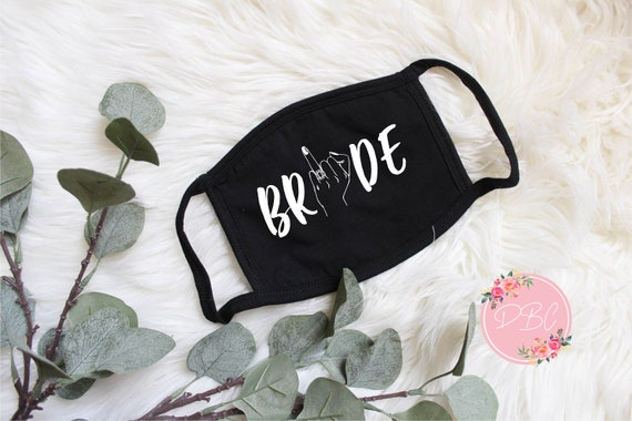 Bride Face Mask with filter pocket | Bride ring Face mask | Bachelorette party face mask | Cotton Face Mask | bride ring finger mask