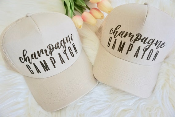Bachelorette hats Trucker Caps.Team Bride Trucker hat. Bachelorette party hats. Champagne Campaign hat