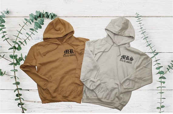 Mr and Mrs hooded sweater | Newlywed wedding date custom sweatshirts | Custom date wedding sweaters | mr and mrs couples hoodies'