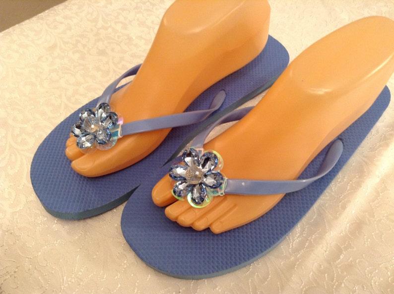 Ladies Size XLarge Blue Flip Flops Size 11