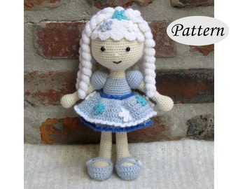 SNOWFLAKE Winter Girl - Amigurumi Pattern Crochet Doll Pattern - Tutorial - PDF - Plush Doll Girl