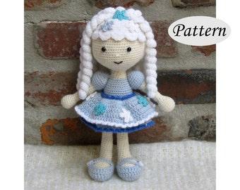 SNOWFLAKE Winter Girl - Amigurumi Pattern Crochet Doll Pattern - Tutorial - PDF - Plush Doll Girl