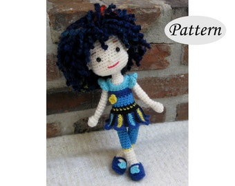 BLUE PANSY - Amigurumi Pattern Crochet Doll Pattern - Tutorial - PDF - Plush Doll Girl