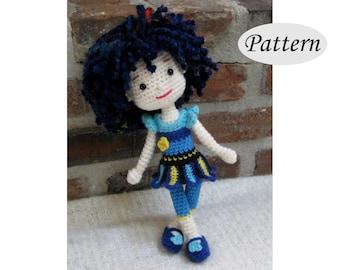 BLUE PANSY - Amigurumi Pattern Crochet Doll Pattern - Tutorial - PDF - Plush Doll Girl