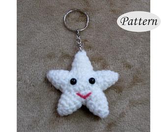 PATTERN - Star Key ring Chain Charm Pendant - Crochet Star Amigurumi - Crochet Backpack Charm - Photo   Tutorial - PDF