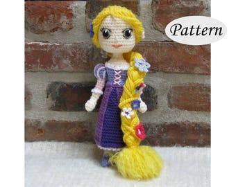 RAPUNZEL - Amigurumi Pattern Crochet Doll Pattern Amigurumi Princess Pattern -  Tutorial - PDF - Plush Doll Girl