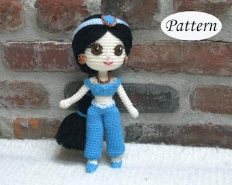 PATTERN Jasmine Princess Aladdin -  Doll - Amigurumi - Crochet - Photo Tutorial - PDF