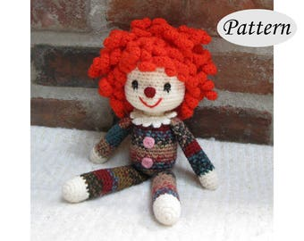 CLOWN - Amigurumi Pattern Crochet Doll Pattern Amigurumi Pattern - PDF - Plush Softie Doll