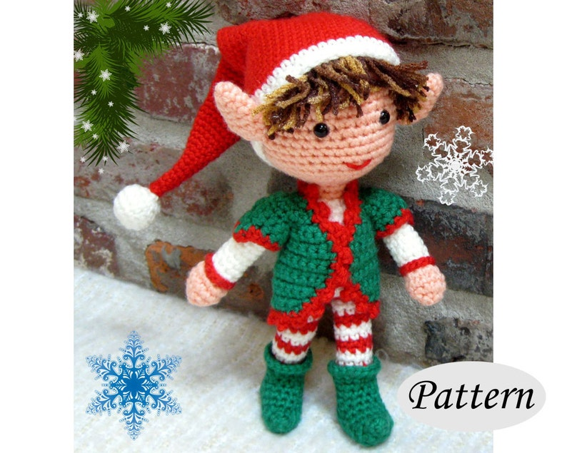 Christmas Xmas ELF BOY  Amigurumi Pattern Crochet Doll image 0