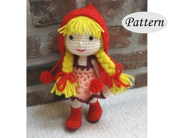 RED RIDING Hood - Amigurumi Pattern Crochet Doll Pattern - Tutorial - PDF - Plush Doll Girl