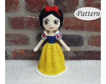 SNOW WHITE - Amigurumi Pattern Crochet Doll Pattern Amigurumi Princess Pattern - Tutorial PDF - Plush Doll Girl