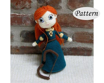 MERIDA - Amigurumi Pattern Crochet Doll Pattern Amigurumi Princess Pattern - Tutorial - PDF - Plush Doll Girl