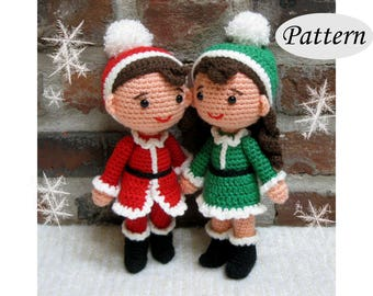 PATTERN - Christmas Xmas Dolls - Boy Girl - Amigurumi - Crochet Doll - Photo Tutorial - PDF - Two Bundle Pack