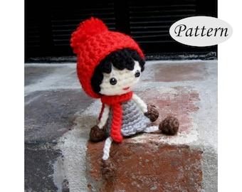 POMPOM DOLL - Amigurumi Pattern Crochet Doll Pattern - Bobble Ski Hat - Tutorial - PDF  - Plush Doll