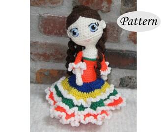 AMELIE - Amigurumi Pattern Crochet Doll Pattern Amigurumi Princess Pattern - Tutorial - PDF - Plush Doll Girl