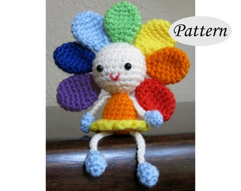 RAINBOW FLOWER - Amigurumi Pattern Crochet Doll Pattern - Tutorial - PDF - Sunflower Plush Doll