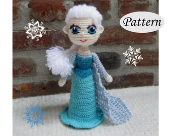 Snow Queen ELSA - Amigurumi Pattern Crochet Doll Pattern Amigurumi Princess Pattern - Tutorial PDF - Plush Doll Girl