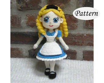 ALICE in Wonderland - Amigurumi Pattern Crochet Doll Pattern Amigurumi Princess Pattern - PDF - Plush Doll