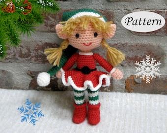 Christmas Xmas ELF GIRL - Amigurumi Pattern Crochet Doll Pattern - Photo Tutorial - PDF - Plush Doll Girl