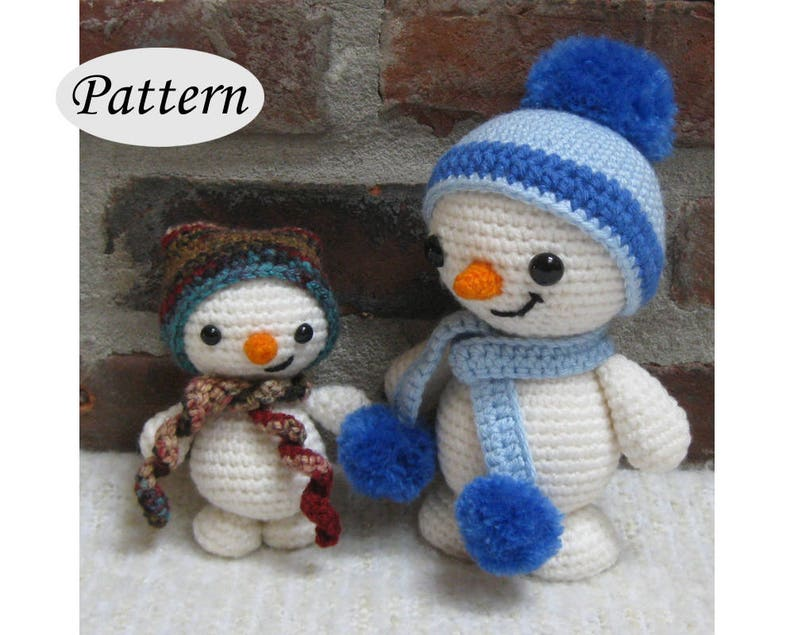 SNOWMAN & SNOWY  Amigurumi Pattern Crochet Doll Pattern image 0