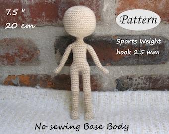 "PATTERN - 7.5""/20cm - Amigurumi Base Body - Crochet Doll - Basic Doll - Photo Tutorial - PDF"