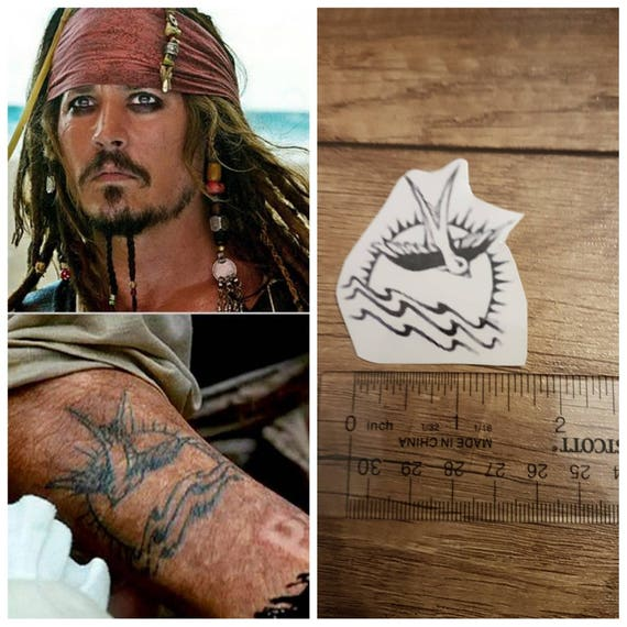 Jack Sparrow Pirates Of Caribean Tattoo Johnny Depp Etsy