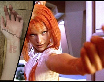 Leeloo Dallas element temporary tattoo form 5th element movie milla jovovich Luc Besson scifi cosplay costume multipass