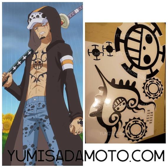 Trafalgar D Law One Piece Temporary Tattoo Kit Cosplay Costume