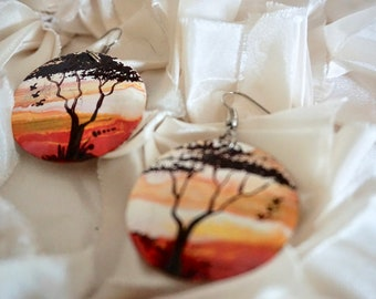 Hand painted recycled african earrings - tree at sunset