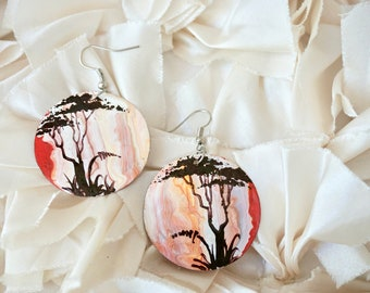 Hand painted recycled African earrings - red and white - tree