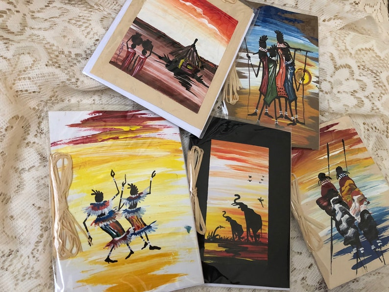 Variety Pack of 5 Hand painted African blank note cards by Davis Muwumba
