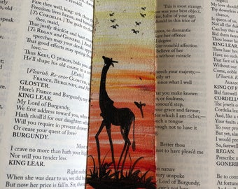 Hand painted leather bookmark - giraffe at sunset bkmk2-64