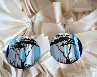 Hand painted recycled African earrings - Blue and silver - tree