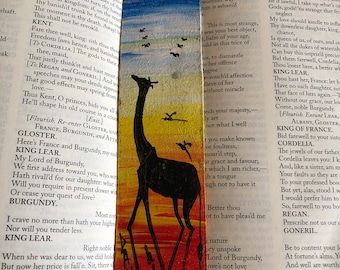 Hand painted leather bookmark - giraffe at sunset bkmk2-68