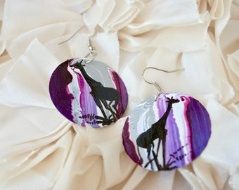 Recycled African Earrings - purple and silver - giraffe